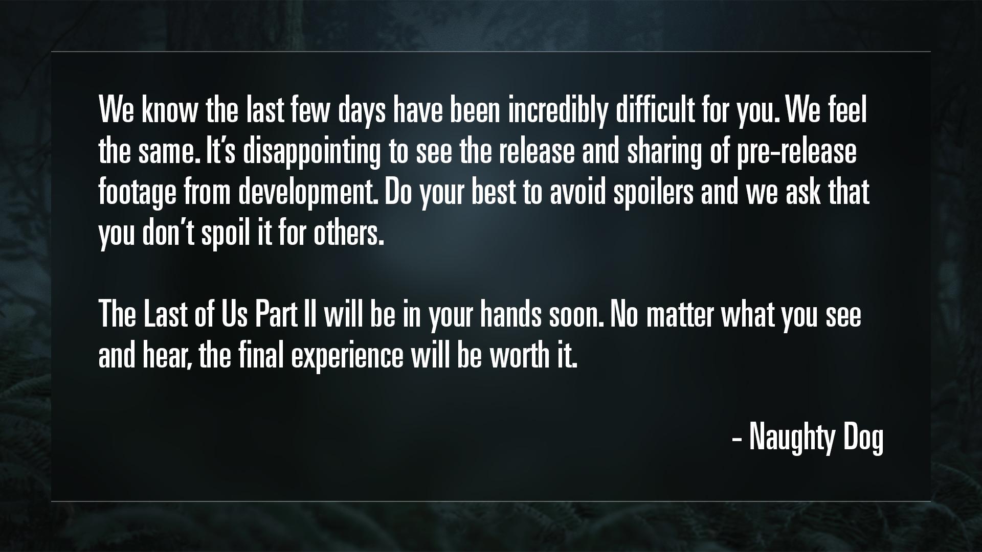 comunicado de Naughty Dig en relación a la filtración de The Last of Us Part II previa a su estreno