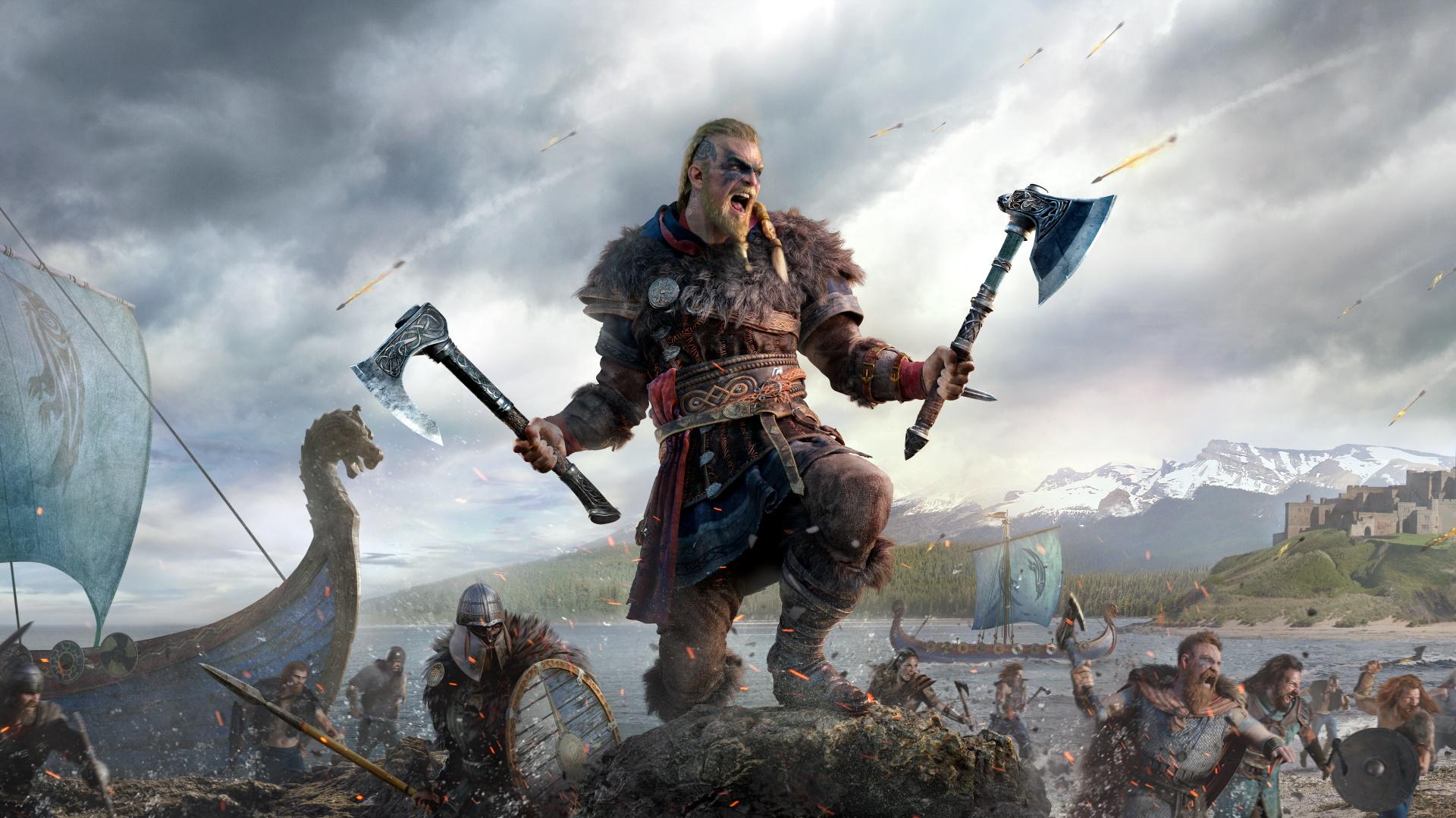 Imagen de Eivor en Assassin's Creed Valhalla con hachas