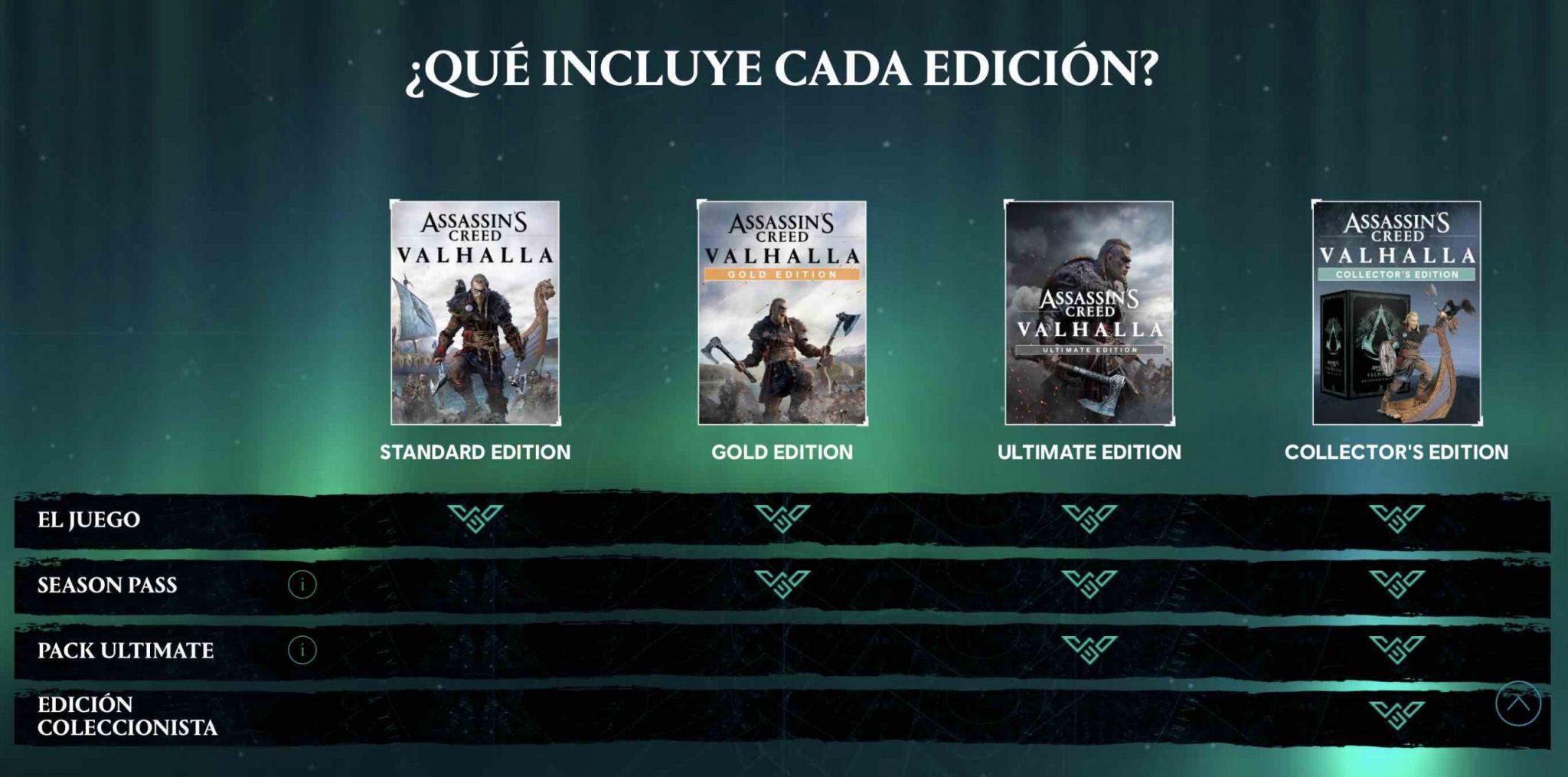 Imagen de ediciones de Assassin's Creed Valhalla