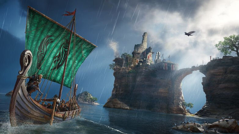 imagen de barco largo long ship de Assassin's Creed Valhalla
